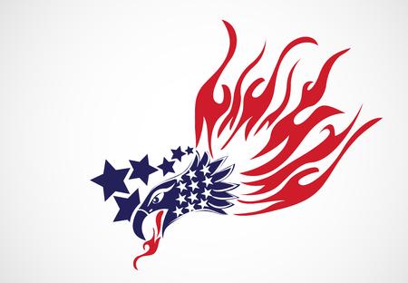 Bald Eagle American Flag Flames Symbol Vector Image Иллюстрация
