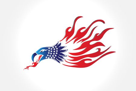 Bald Eagle American Flag Flames Symbol Vector Image Illustration