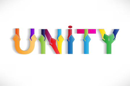 Einheit bunte Worttext-Vektor-Bild-Design Vektorgrafik