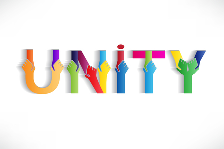 Unity colorful word text vector image design