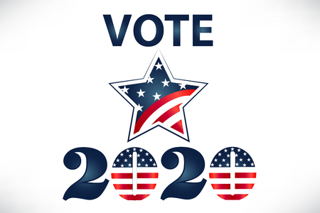 2020 Vote USA Flag Star Vector Image Design