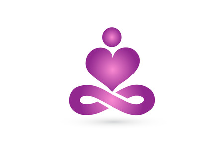 Yoga man with a love heart shape icon vector image