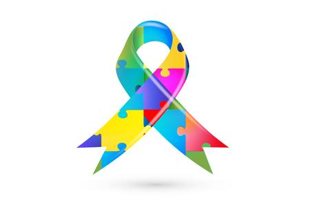 Colorful puzzle ribbon autism symbol awareness vector image design