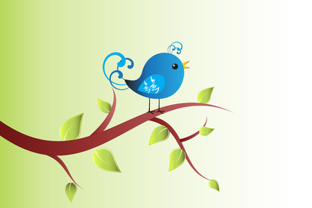 Bird on a branch tree vector image design Stock Illustratie