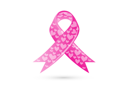 Awareness Pink Breast Cancer Ribbon with Hearts Logo Vector Design Illustration