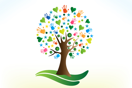 Tree hearts and hands   vector image