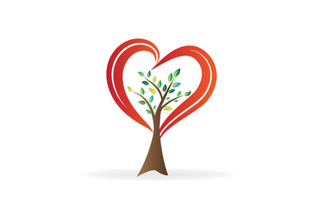 Tree love heart shape ecology symbol   vector 스톡 콘텐츠 - 125886545