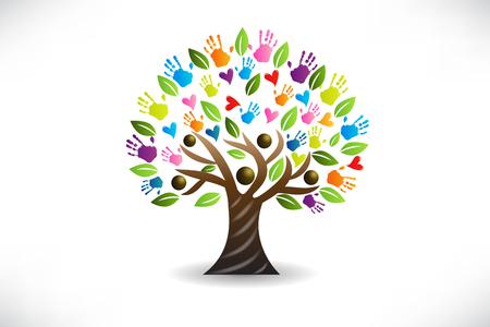 Imagen vectorial de manos y corazones de árbol