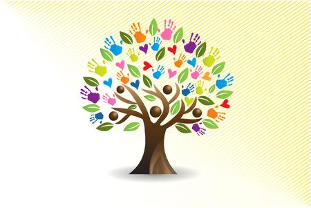 Imagen vectorial de manos y corazones de árbol Ilustración de vector