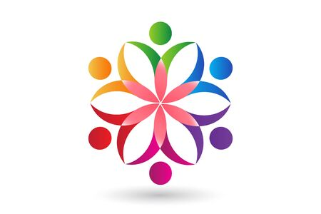 teamwork people colorful flower icon id cards vector image