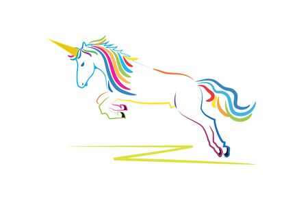 Unicorn fantasy horse with a horn colorful web image vector