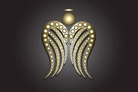 Angel gold wings ornament vector image design 일러스트