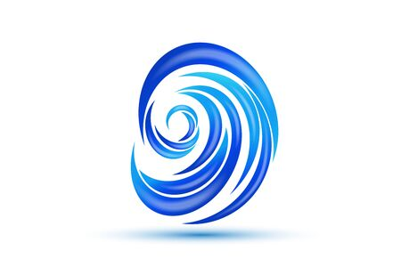blue ocean beach swirl waves symbol icon illustration vector image design 向量圖像