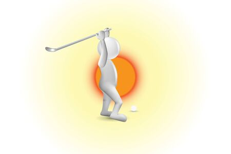 3D small people golfer hitting the ball in a sunny day vector image Illustration