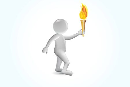 3D man with games torch flames vector image