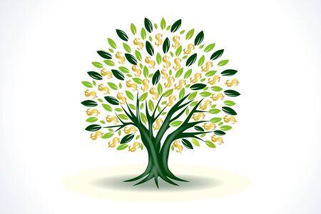 Símbolo del árbol del dinero del icono de vector de prosperidad Ilustración de vector