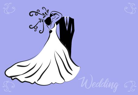 Bride groom wedding symbol vector image card