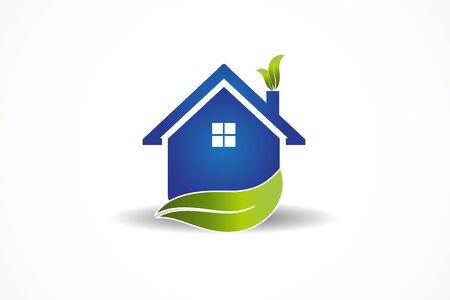 Blue House and leaf real estate vector