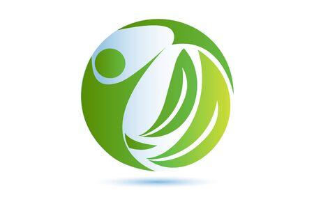 Green nature health people vector image template Ilustração