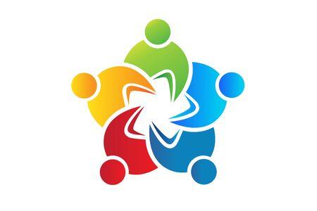 Teamwork colorful business people vector image design Ilustração