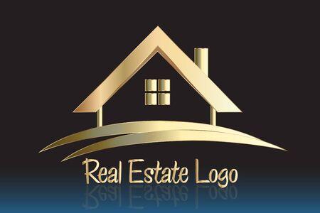 Real estate golden house vector design Ilustração