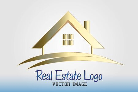 Real estate golden house vector design 일러스트