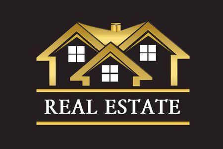 Real estate golden house company card vector design