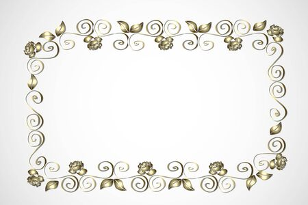 Gold roses frame greetings card vector template