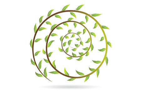 Leafs in a swirly shape icon vector graphic design Banque d'images - 129485227