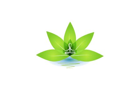 Lotus yoga man inside of green leafs flower id card vector image