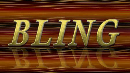 Bling text word golden design photo Standard-Bild - 129485233