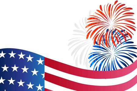 USA flag and fireworks background vector image