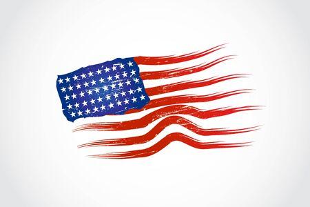 Vintage american us flag grunge vector image Illusztráció