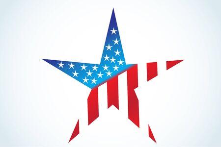 American flag USA star shape vector