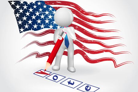 3D small people - Checklist US Flag Vote Text symbol card vector image
