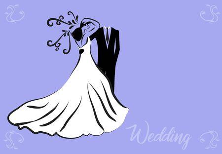 Bride groom wedding symbol vector image card