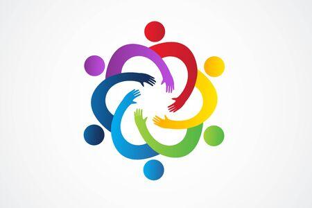 Logo teamwork unity handle people vector image Illustration
