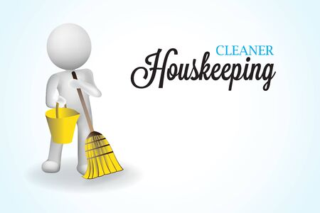 3D small people housecleaning janitorial housekeeping logo vector image