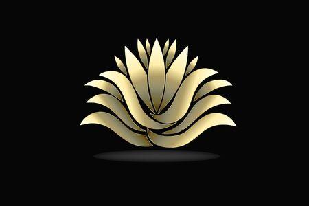 Gold lotus flower vector image design