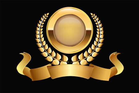 Gold medal laurel ribbons vector graphic design element