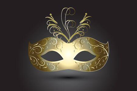 Karnawałowa maska kwiatowy w złocie Mardi Gras Święto na czarnym tle obrazu wektorowego