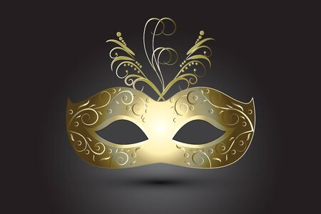 Carnival Mask Floral in Gold Mardi Gras Feast On Black Background Vector Image