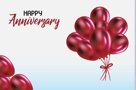 Happy anniversary words with red balloons party celebration invitation card vector image background Иллюстрация