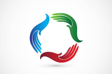 hands around colorful teamwork vector icon