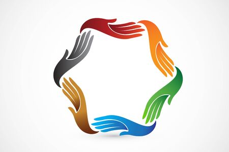 hands around colorful teamwork id card business vector icon