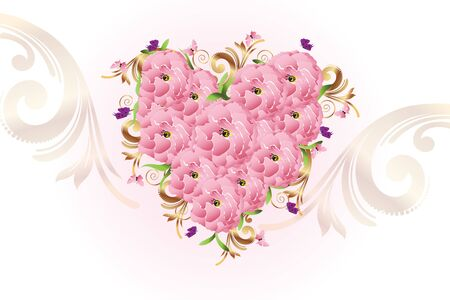 Vintage luxury blossom flower love heart shape for valentines and holidays elegant card vector image template Archivio Fotografico - 129485280