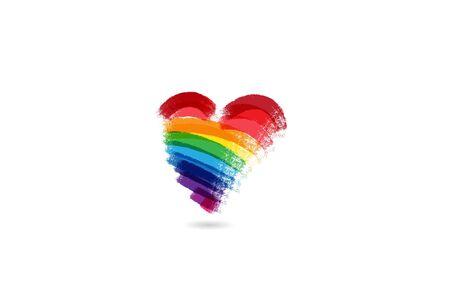 Love heart rainbow color icon id card vector image design Archivio Fotografico - 129485278