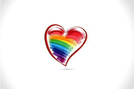Love heart rainbow color icon id card vector image design