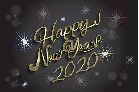 Happy new year 2020 gold shine graphic design vector image