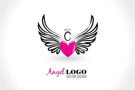 Angel love heart id card icon vector image design